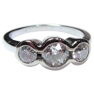 Vintage 14K Diamonds Three Stone Ring Old Cuts