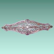 Excellent 14K Gold Filigree Diamond Brooch Pin