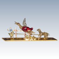 Victorian Bar Pin Dog Chasing Duck! Collector Item Rare Repaired