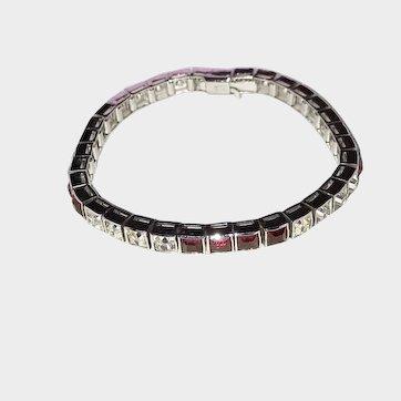 Dorson's Sterling Art Deco Paste Line Bracelet Red White