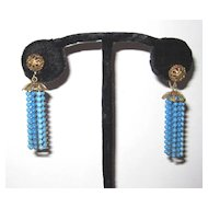 Vintage Earrings Blue Beaded