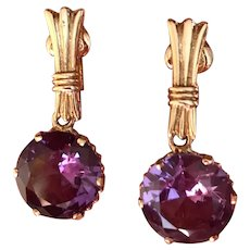 Retro Vintage Color Change Synthetic Alexandrite Drop Earrings Gold Filled