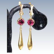 Victorian Garnet Earrings Long Drop