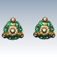 Gorgeous Glass Rhinestone Clip Earrings Green Flowers