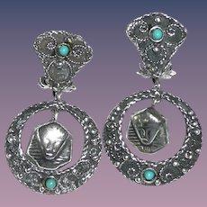 Art Deco Silver Egyptian Revival Earrings
