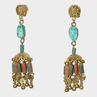 Vintage Egyptian Revival Clip Earrings