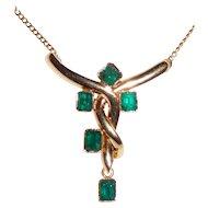 Estate 18K Gold 5 Emeralds Pendant Necklace