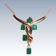 Estate 18K Gold 5 Emeralds Pendant Necklace