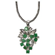 Emerald Diamond Pendant on 18K White Gold Chain