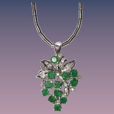 Emerald Diamond Pendant on 18K White Gold Chain