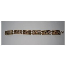 Vintage Gilt Filigree Panel Bracelet Enamel Flowers
