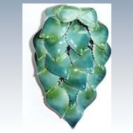 Large Enamel Blue Green Leaves Pin
