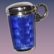 French Guilloche Enamel Blue Chatelaine Pill Box Silver