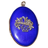 Fine Cobalt Blue Enamel Locket Sterling