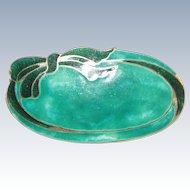 Sweet Enamel Green Sterling Pin Ribbon Motif