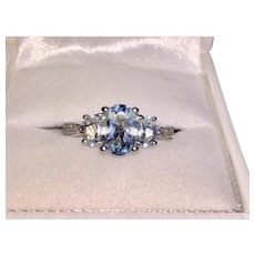 Beautiful 14K White Gold Aquamarine Diamond Ring March Birthstone
