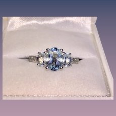Beautiful 14K White Gold Aquamarine Diamond Ring March Birthstone