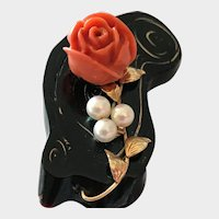Hawaiian Black Coral with Carved Coral Rose and Cultured Pearls Brooch Pretty