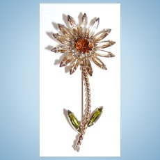 Vintage Fancy Flower Brooch Topaz Colors