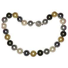 Large Faux Pearls Tri-Color Gray Golden White Rhinestone Clasp