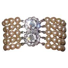 Vintage 5 Strand Faux Pearls Sterling Clasp Bracelet