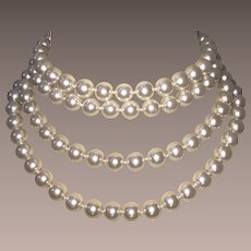 Vintage Couture Glass Pearls 72 Inches Long