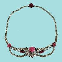 Art Deco Festoon Faux Pearls Red Glass Stones
