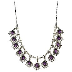 Art Nouveau  Festoon Necklace Purple Fit For A Bride