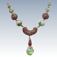 Filigree Green Artglass Necklace Circa 1930