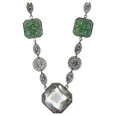 Art Deco Necklace  Filigree Peking Glass