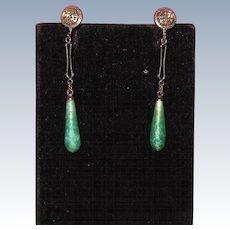 Art Deco Peking Glass Filigree Drop Earrings