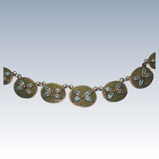 Chinese Export Plique a Jour Filigree Necklace