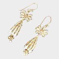 Vintage Gilt Filigree Cultured Seed Pearls Earrings