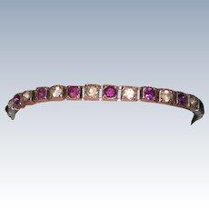 Purple Rhinestone Fishel, Nessler & Co. Sterling Art Deco Line Bracelet