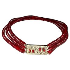 Red Glass Art Deco Choker Fishel Nessler Co. New York
