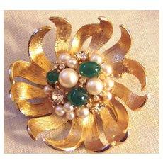 Vintage Flower Brooch Faux Pearls Faux Jade