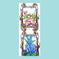 Vintage Enamel Link Bracelet Floral