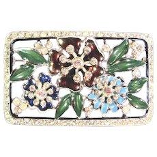 Large Vintage Rhinestone Floral Brooch