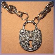 Vintage Florenza Charm Bracelet Keys And Padlock
