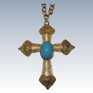 Florenza Signed Large Cross Pendant