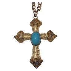 Florenza Signed Large Cross Pendant