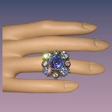 Vintage Florenza Costume Rhinestone Ring