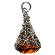 Large English Silver Ornate Fob Glass Charm