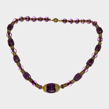Beautiful French Poured Glass Necklace Purple