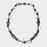 Art Deco Beautiful Vintage France Poured Glass Beads Choker