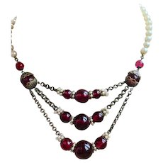 Beautiful French Cherry Red Glass Beads Necklace