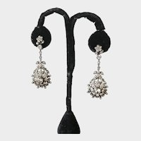 Antique French Paste Sterling Earrings