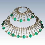 Vintage Gorgeous Glass Pearls Emerald Beads Fringe Necklace Bracelet