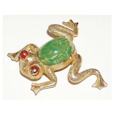 Vintage Frog Pin with Glass Belly