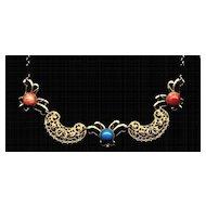 Vintage Choker Necklace Faux Coral Turquoise Goldtone